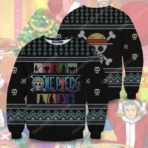 Straw hat pirates silhouette pirates for christmas time ugly christmas sweater 5