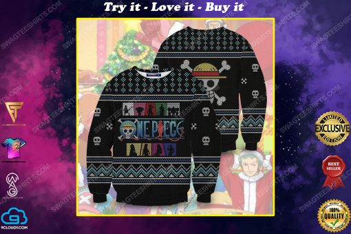 Straw hat pirates silhouette pirates for christmas time ugly christmas sweater