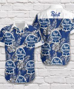 Tropical pabst blue ribbon beer short sleeve hawaiian shirt 2