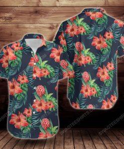 Tropical summer hibiscus flower short sleeve hawaiian shirt 3