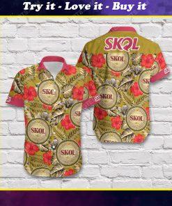 Tropical summer skol beer short sleeve hawaiian shirt