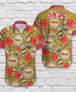 Tropical summer skol beer short sleeve hawaiian shirt 3