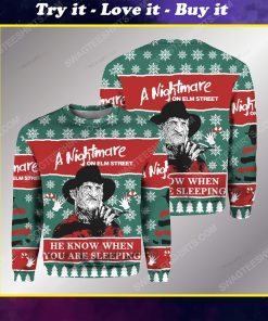 Freddy krueger he knows when you are sleeping ugly christmas sweater