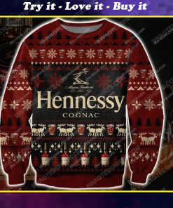 Hennessy cognac all over print ugly christmas sweater 1