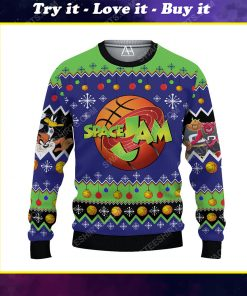 Space jam pattern ugly christmas sweater